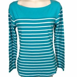 Columbia Teal Omni Wick Striped Long Sleeve